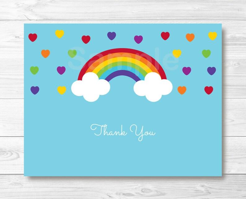 dada965560 Cute Rainbow Thank You Card / Rainbow Baby Shower / Rainbow   Etsy
