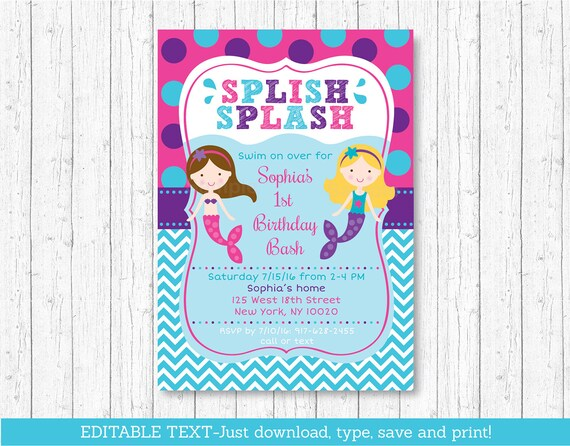 Mermaid Birthday Invitation Pool Party