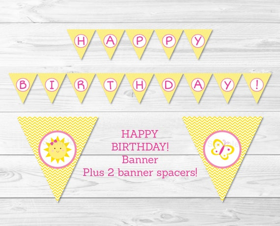 image relating to Free Printable Chevron Banner Minecraft named Lovable Sun Pleased Birthday Banner / By yourself Are My Solar