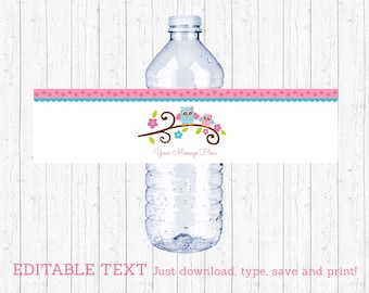 Cute Pink Owl Water Bottle Labels / Owl Baby Shower / Pink & Blue Owl / Baby Girl Shower / INSTANT DOWNLOAD Editable PDF A226