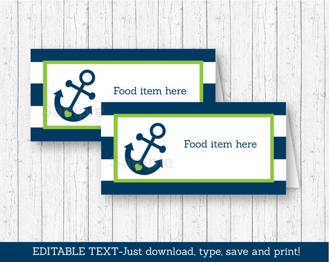 Cute Nautical Food Tent Cards / Food Labels / Place Cards / Nautical Baby Shower / Anchor Baby Shower / INSTANT DOWNLOAD Editable PDF A198