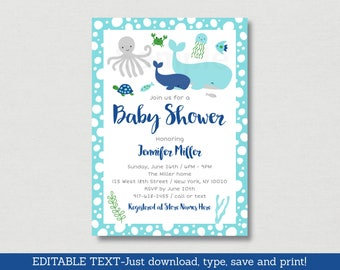 Nautical Under The Sea Baby Shower Invitation / Whale Baby Shower / Nautical Baby Shower / Sea Animals / Editable PDF INSTANT DOWNLOAD A179