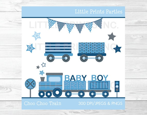 Baby Blue Train Clipart / Train Baby Shower / Baby Boy Train Clipart