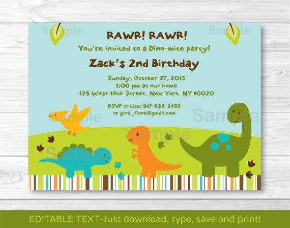 Dinosaur Birthday Invitation 1st Invite 2nd INSTANT DOWNLOAD Editable Text A173