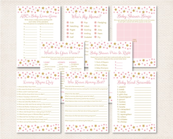 Pink Twinkle Star Baby Shower Games Package Gold 8 Printable INSTANT DOWNLOAD A196