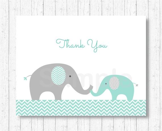 Elephant Thank You Card Elephant Baby Shower Mint Green Etsy