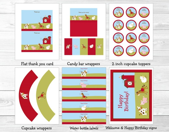 Cute Farm Animal Birthday Party Package Decorations Barnyard Printable INSTANT DOWNLOAD A260