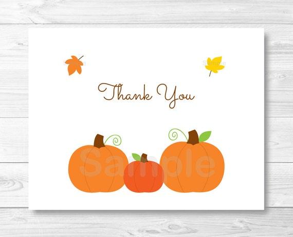 Cute Pumpkin Thank You Card Template Pumpkin Baby Shower Etsy