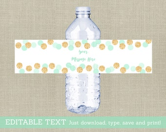 Glitter Water Bottle Labels / Glitter Baby Shower / Confetti / Mint & Gold / Gender Neutral / Printable INSTANT DOWNLOAD Editable PDF A148