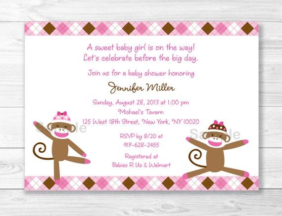 Pink Sock Monkey Baby Shower Invitation Sock Monkey Baby Etsy