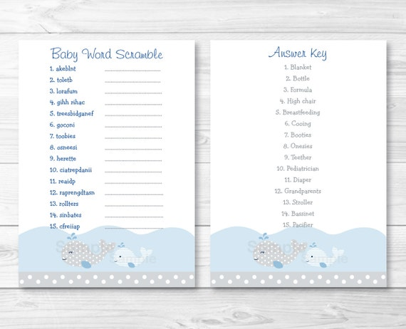 Whale Baby Shower Word Scramble Game Whale Baby Shower Nautical