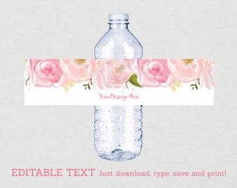 Soft Pink Floral Water Bottle Labels / Floral Baby Shower / Watercolor Floral / Pink Floral Baby Shower / INSTANT DOWNLOAD Editable PDF A170