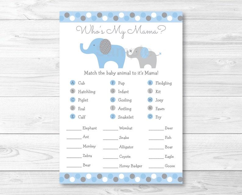 Elephant Animal Match Game Elephant Baby Shower Polka Dot Etsy
