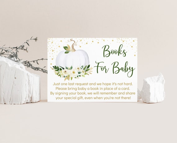 Insert Baby Shower Instant Download Pumpkin Business Card Size Bring a Book