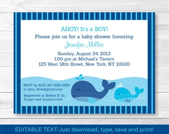 Whale Baby Shower Invitation / Whale Baby Shower Invite / Nautical Baby Shower Invite / Navy & Aqua / INSTANT DOWNLOAD Editable PDF A383