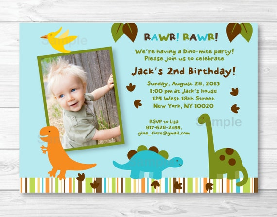 Cute Dinosaur Birthday Invitation Invite Theme 1st 2nd Any Age PRINTABLE A317