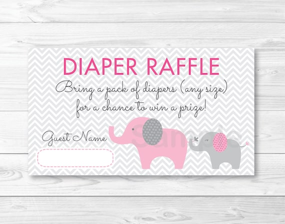 Elephant Diaper Raffle Tickets Elephant Baby Shower Pink Grey Chevron Pattern Printable Instant Download A410