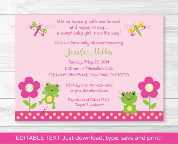 Cute pink frog baby shower invitation frog baby shower etsy image 0 filmwisefo