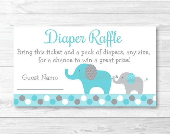 Elephant Diaper Raffle Tickets Elephant Baby Shower