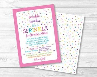 Pink Baby Sprinkle Invitation / Twinkle Twinkle Sprinkle / Rainbow Sprinkle Invite / Baby Girl Sprinkle / PRINTABLE A109