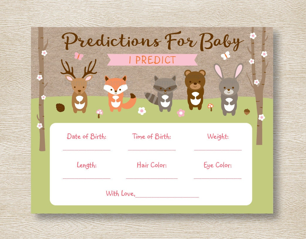Pink Woodland Animal Baby Predictions Game / Woodland Baby Shower /  Predictions For Baby / PRINTABLE INSTANT DOWNLOAD A209