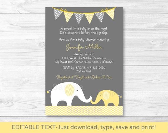 Yellow Elephant Baby Shower Invitation Elephant Baby Shower Invite