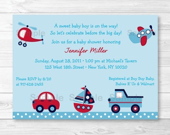 Vehicle Baby Shower Invitation / Car / Truck / Sailboat / Airplane / Helicopter / PRINTABLE A423