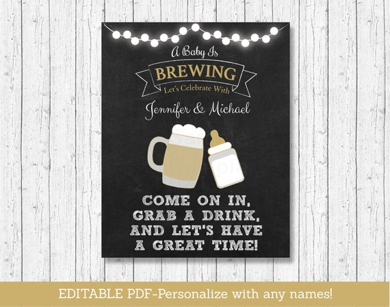 baby is brewing baby shower welcome sign chalkboard sign baby