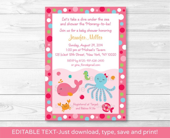 Lil Pink Whale Baby Shower Invitation Editable PDF