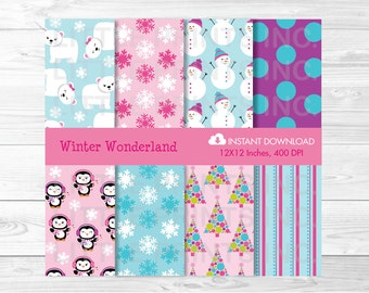 Winter Wonderland Penguin Polar Bear Digital Paper PERSONAL USE Instant Download A377