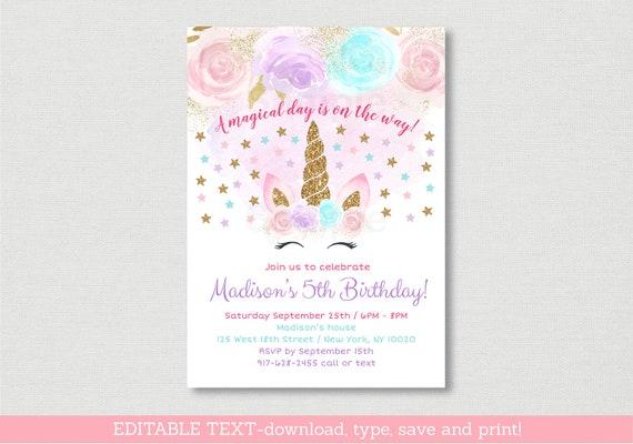 unicorn birthday invitation unicorn birthday invite gold glitter