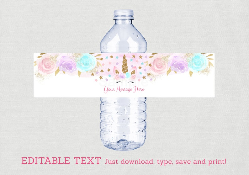 graphic relating to Free Printable Water Bottle Labels for Birthday named Unicorn Birthday Drinking water Bottle Labels / Unicorn Birthday / Red Gold Unicorn / Floral Unicorn / Prompt Down load Editable PDF A451