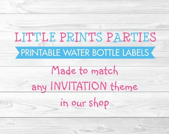 Printable Water Bottle Labels Made to Match any invitation in shop