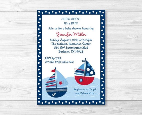 Cute Sailboat Baby Shower Invitation Invite