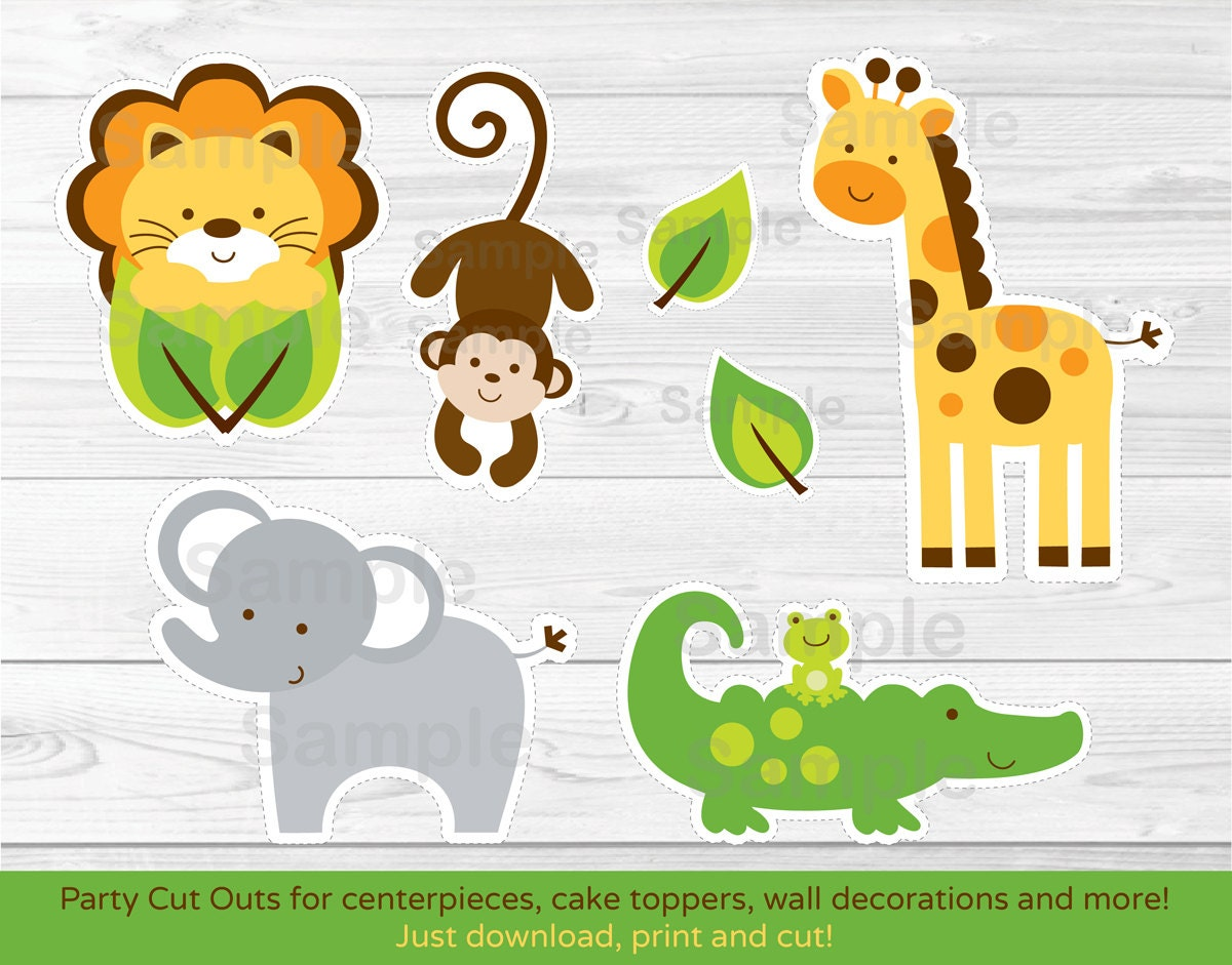 Jungle safari animal cut outs centerpiece wall decor etsy jungle safari animal cut outs centerpiece wall decor party decor printable instant download a245 maxwellsz
