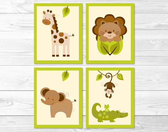 Jungle Animal Nursery Wall Art / Jungle Animal Wall Art /