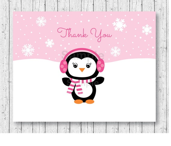 cute pink penguin thank you card folded card template etsy