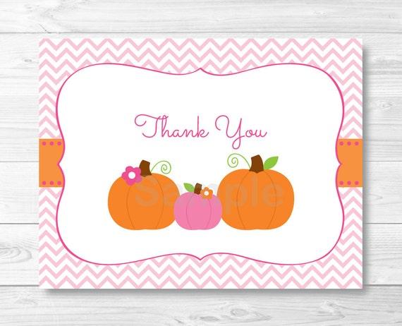 Pink Pumpkin Thank You Card Template Pumpkin Baby Shower Etsy