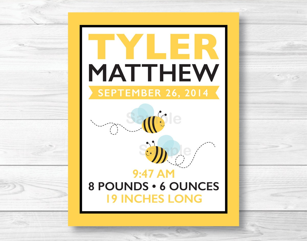 Bumble Bee Nursery Wall Art Birth Stats / Birth Announcement / | Etsy