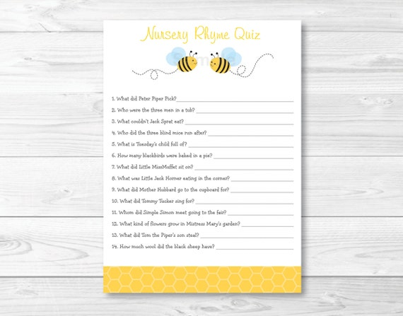Cute Bumble Bee Nursery Rhyme Quiz Bumble Bee Baby Shower Bee