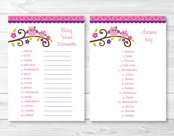 Pink Purple Owl Baby Shower Word Scramble Owl Baby Shower