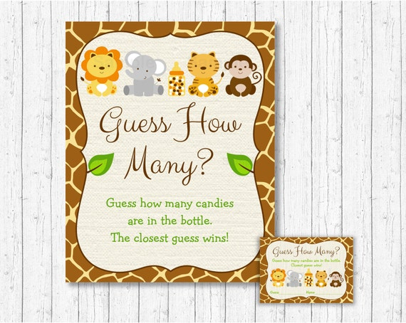 Safari Jungle Guess How Many Game Baby Shower Animal INSTANT DOWNLOAD A100