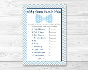 Bow Tie Price is Right Baby Shower Game / Bow Tie Baby Shower / Chevron Baby Shower Game / Little Man Baby Shower / INSTANT DOWNLOAD A290