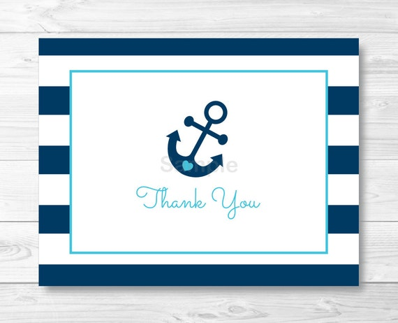 picture relating to Printable Anchor Template named Nautical Anchor Folded Thank By yourself Card Template / Nautical