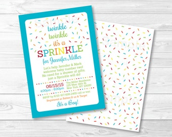 Rainbow Baby Sprinkle Invitation / Blue Baby Sprinkle / Twinkle Twinkle Sprinkle / Rainbow Sprinkles / Baby Boy Sprinkle / PRINTABLE A110