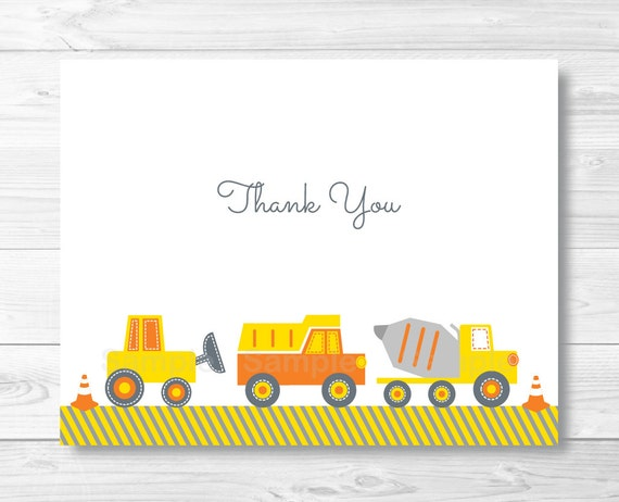 construction truck thank you card template folded card template