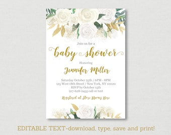 Gold Floral Baby Shower Invitation / Floral Baby Shower / White & Gold / Gender Neutral / Editable PDF INSTANT DOWNLOAD A449