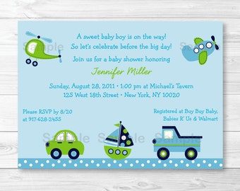Cute Transportation Baby Shower Invitation / Vehicle Baby Shower Invite / Car / Truck / Sailboat / Airplane / Helicopter PRINTABLE A306