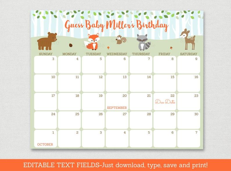 Woodland Animal Baby Due Date Calendar  Woodland Baby Shower  Baby Woodland Animals  Birthday Predictions  Editable PDF A469