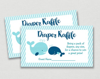 Whale Diaper Raffle Tickets / Whale Baby Shower / Nautical Baby Shower / Baby Shower Raffle / Navy & Aqua / Printable INSTANT DOWNLOAD A160